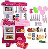 Delex Play Kitchen for Kids Pink Kitchen Playset My Little Chef With 30 Accessories Role Playing Game