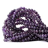 CHEAVIAN 60PCS 6mm Natural Amethyst Gemstone Round Loose Beads Crystal Energy Stone Healing Power for Jewelry Making 1 Strand 15'