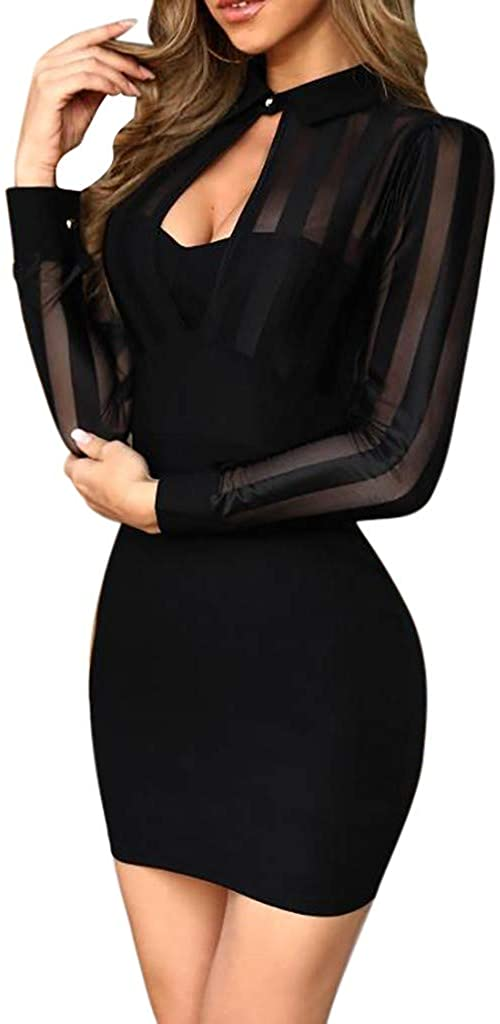 Yousity Women Sexy Sheer Striped Mesh Patchwork Bodycon Mini Dress Casual Long Sleeve Work Dress Cocktail Party Dress