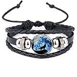 GOOKEY Adjustable Wolf Braided Leather Bracelet - Cute Bangle Bracelets for Women, The Pretty Gifts for Women (Black)