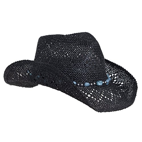 Vamuss Straw Cowboy Hat for Women with Beaded Trim and Shapeable Brim, Black/Blue, One Size