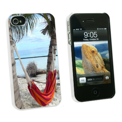 Graphics and More Tropical Beach Hammock - Palm Trees Ocean - Snap On Hard Protective Case for Apple iPhone 4 4S - White - Carrying Case - Non-Retail Packaging - White