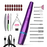 Janolia Portable Electric Nail Drill, USB Electric Nail File for Finger Toe Nail Care, Professional Manicure & Pedicure Kit with 11 Drill Heads, 16 Sanding Bands and 1Nail Clipper (Purple)