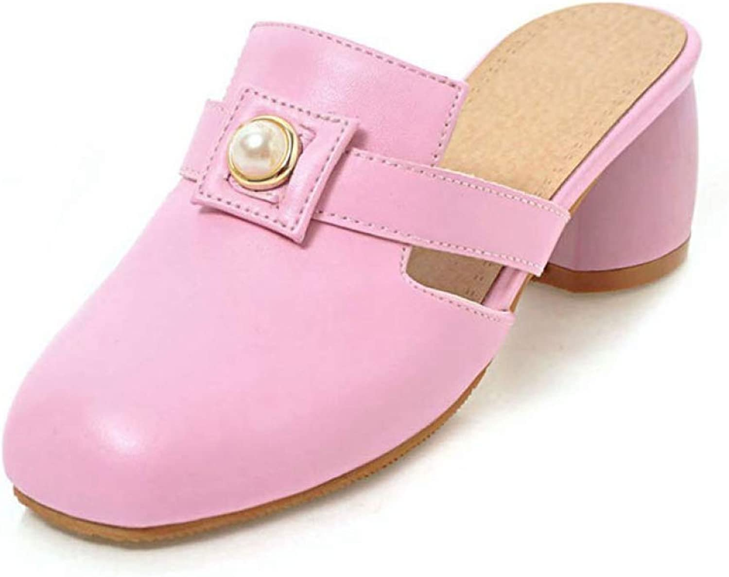 T-JULY Summer Mules Pumps shoes for Women Pearl Slip on Round Toe High Square Heels Slippers Ladies Casual shoes