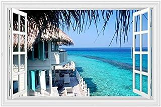 Wall Sticker ,3D Wallpaper Wall Decoration Coconut Beach Fresh Sea View ,3D Fake Window Wall Sticker ,Home Decoration Bedr...