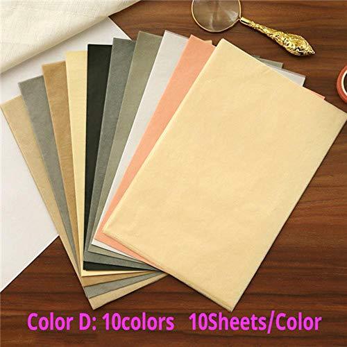 210 * 140mm A5 100sheets / bag kleurrijke tissuepapier inpakpapier DIY Kid Gift vouwen handgeschept papier Party Decor, kleur D 100st