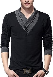J.STORE [ジェイストア] Vネック 長袖 ロング Tシャツ スカーフ風 カットソー カジュアル シャツ メンズ M~4XL
