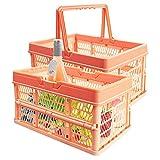EsLuker.ly Lot de 2 caisses de rangement pliables en plastique de 10 l avec poignées, petits paniers de courses empilables pour coffre de voiture, jardin, cuisine, salle de bain (orange)