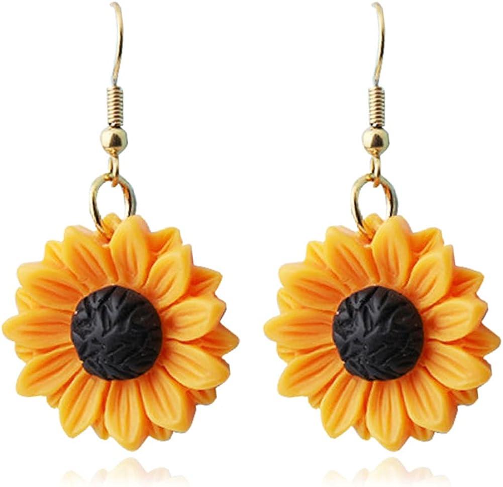 DIYANMMY Fashion Simplicity Sunflower Leaf Pendant for Women Yellow Enamel Daisy Sun Flower Dangle Drop Earrings Jewelry Gift