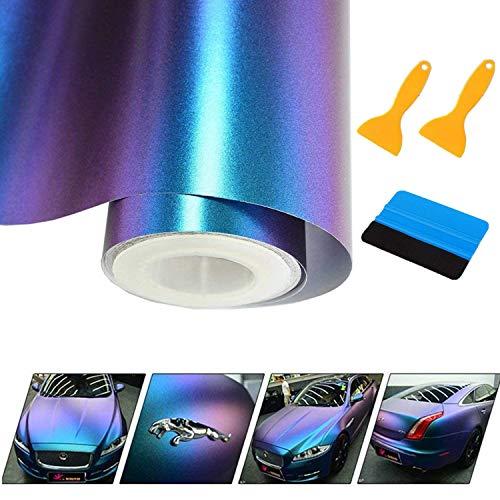 Mioke Lackschutzfolien für Auto,30 * 300cm Auto Folien Selbstklebend Flexibel Auto Shutz Chamäleon FolieLila zu Blau, die Farbe ändert