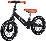 Clamaro 'Roadstar' 12' Kinder Laufrad ab 1 Jahr für Jungen und Mädchen, Balance Lauflernrad mit leichtem 3,6 kg Magnesium Aluminium Rahmen, Luftreifen und mitwachsendem Sitz und Lenker, schwarz/braun