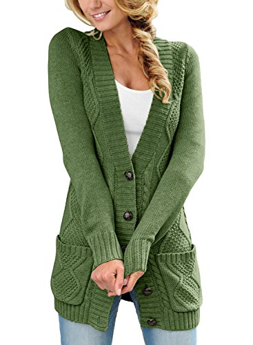 Happy Sailed Damen Langarm Strickjacke Cardigan Strickcardigan mit Knopf ,Grün,L