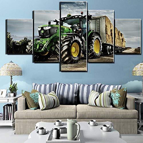 Art Decor Houten Frame Poster Machine Trekker Boerderij Industriële Landbouw Kunst 5 Stuk Canvas Art Poster Home Decor Ingelijst