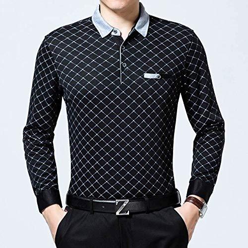 Polo Shirt Langarm,Der Frühling Männer Gedruckt Pullover Casual Business Schwarz T-Shirt Quick-Drying Pullover Sweatshirt Kleidung Mode Stricken Weste, Berufsbekleidung, L