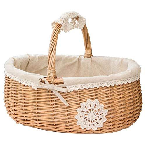 Fauge Weiden Korb Rattan Ablage Korb Box Picknick Korb Obst Blumen K?Rbe und Griff und Wei? Liner für Camping