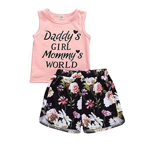 LXXIASHI 2PCS Toddler Baby Boy Girl Summer Clothes Vest Tops +Tassels Floral Denim Shorts Outfit Suit (Daddy's Girl - Floral Pink Black, 3-4 Years)