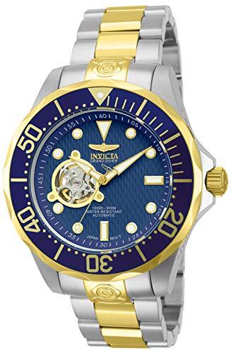 Invicta Relógio masculino Grand Diver automático com mostrador texturizado em aço inoxidável 18 k, Azul, Casual