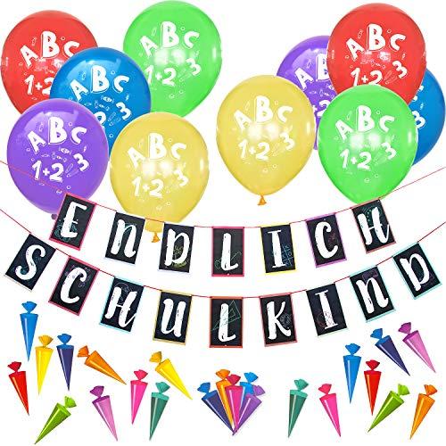 Oblique Unique® Schuleinführung Schulanfang Einschulung Deko Set für Jungs Mädchen - Endlich Schulkind Girlande + Luftballons + Zuckertüte Konfetti