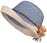 LMZJDI - Sombrero de verano para mujer, para montar al aire libre, con flores, transpirable, plegable (color: rosa, tamaño: 56-58 cm) para mujer (color: azul, tamaño: 6 7/8-7 1/8)