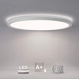 SHILOOK Lámpara LED de techo redonda y plana, 18 W, 2200 lm, 4000 K, IP44, para cuarto de baño, pasillo, dormitorio, sótano, balcón, moderno, color blanco, ultrafina, 29 cm