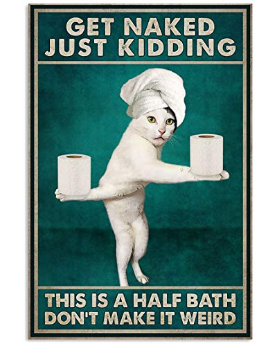 AMD PRINT Cat Poster Funny Get Naked Just Kidding This's A Half Bath Don't Make It Weird Wall Art Hanging Abstract Photographic Colorful Living Bedroom Home Decor No Frame