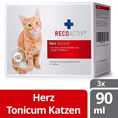RECOACTIV® Herz Tonicum für Katzen, 3 x 90 ml, Herz Nahrungsergänzungsmittel für Katzen in der Rekonvaleszenz bei Herzinsuffizienz mit Taurin, Carnitin Omega-3-Fettsäuren und Weißdorn