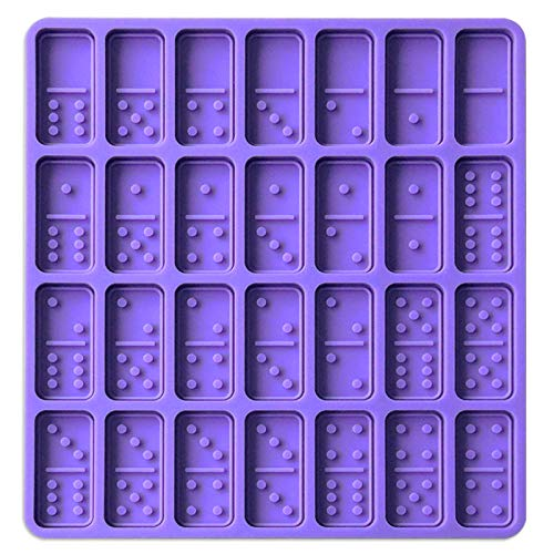 Listenman Silicone Dominoes Mold, 28 Cavities Domino Mold for Resin, Chocolate Candy Pendant Molds Silicone Baking Mold for Homemade Soaps, Lotion Bar, Jello, Bath Bomb, Beeswax, Resin (Purple)