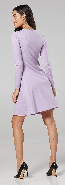 Happy Mama Long Sleeves Womens Maternity Nursing Layered Skater Dress 128p