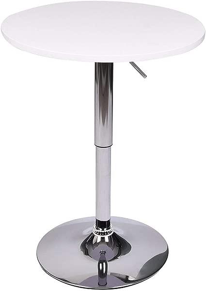 全瓦特圆形酒吧桌子酒吧 MDF 顶部与铬腿和基地 35 英寸高白色