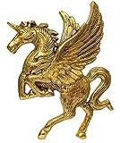 Purple dip - Estatua de caballo volador Pegasus, acabado dorado para colgar en la pared para puertas, entrada, templo, paredes (12182)