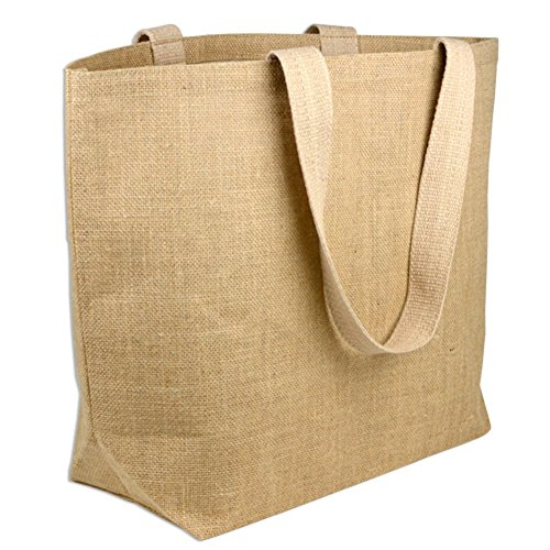 Large Eco-Friendly Jute Bag Burlap Beach Totes with Cotton Lining (Pack of 6)