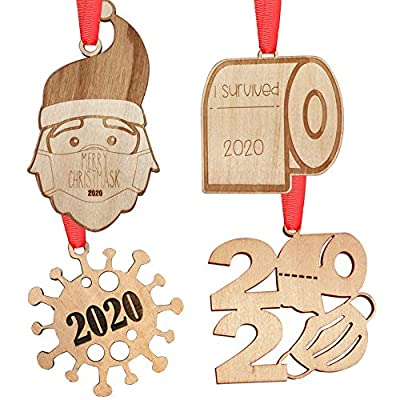 AoGer 2020 Christmas Ornament Quarantine, Engraved Rustic Wood Christmas Ornament Decorating Kit, Santa Claus Decoration, Toilet Paper Ornament, 2020 Keepsake for Family Christmas Tree Decorations