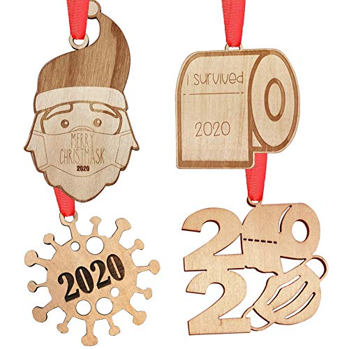 2020 Christmas Ornament Quarantine, AoGer Personalized Engraved Rustic Wood Hanging Decorating Kit, Santa Claus with Mas'k, Toilet Paper Ornament, 2020 Keepsake for Family Christmas Tree Decorations