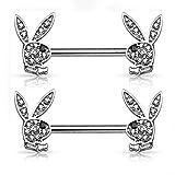 Playboy Silver Stainless Steel 14G 9/16' Playboy Nipplerings Piercing Barbell Bunny Logo Licensed Jewelry