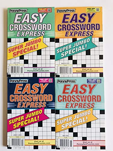 4 issues of the Penny Press Easy Crossword Express Crossword Puzzles 2019 SUPER JUMBO SPECIALS