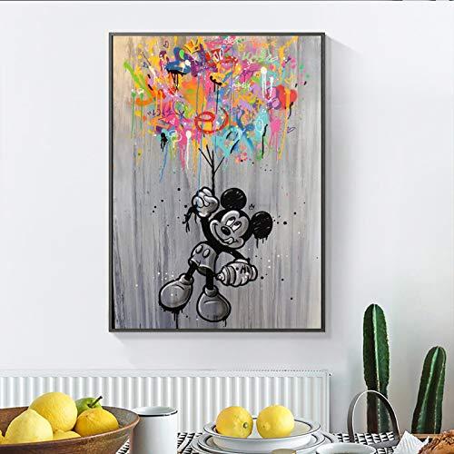 WIOIW Graffiti Abstracto Arte Callejero Dibujos Animados Comics Lindo Mic-Key Mouse Catch Ballon Lienzo Pintura Arte de la Pared Póster Impresiones Dormitorio de los niños Sala de Estar Decoración d
