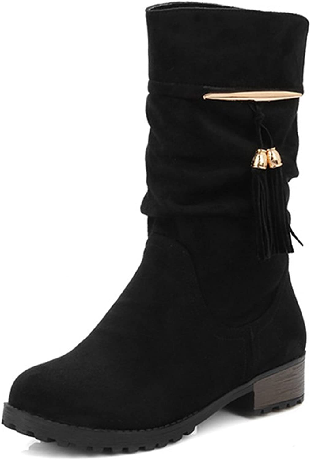 IDIFU Women's Casual Tassels Low Heels Chunky Round Toe Slouchy Mid Calf Boots
