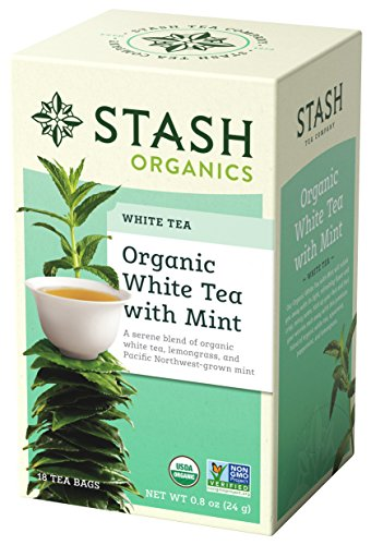 Stash Tea Organic White Tea with Mint 18 Count Tea Bags in Foil (Pack of 6) Individual Organic White Tea Bags for Use in Teapots Mugs or Cups, Brew Hot Tea or Iced Tea