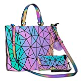 Geometric Handbag Luminous Women Tote Bag Holographich Purses and Handbags Flash Reflactive Crossbody Bag for Women (small handbag with handpurse)
