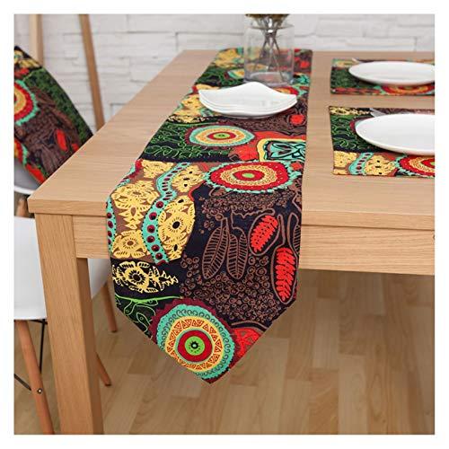 ANAZOZ Chemin de Table Motif Soleil Fleurs Ethnique, Toile Décorative Couverture Moderne, Chemin Table 30x200CM, Rouge