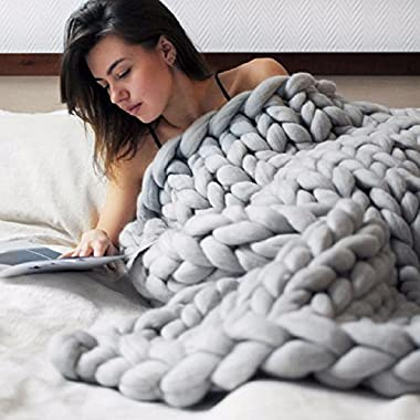 Nishiguang Chunky Knit Blanket Handmade Thick Wool Bulky Knitting Throw for Bedroom Decor Super Large Bed Sofa Pet Mat Gray 40 x59