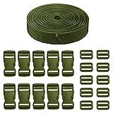 JETEDC(ジェットイデイシイ)Molle スーツケースベルト 荷崩れ防止 ベルト10セット 25mm×10m ワンタッチ式ロックプラスチックロック10個入り 荷締めベルト 作業用ベルト 調整可能 (緑)