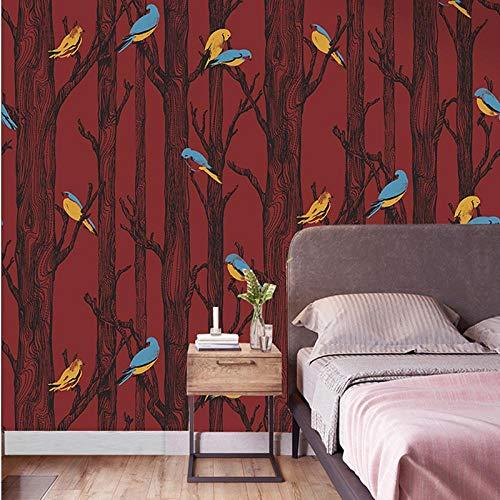 Waldtapete mit Tieren für Kinder Schlafzimmer Birke-Vlies-UV-beständig und waschbar-3D-Tapete-rot