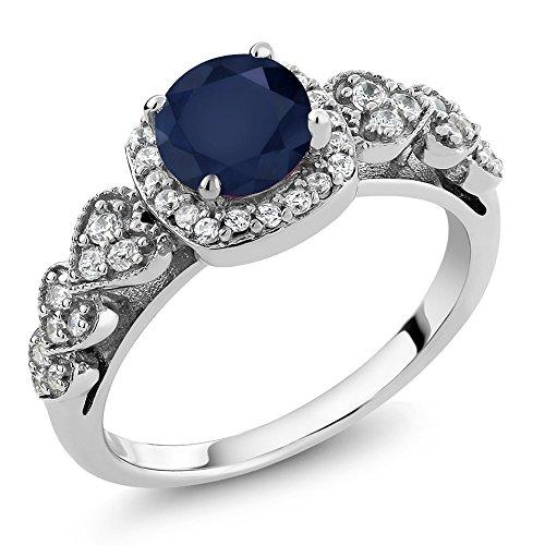 Gem Stone King Sterling Silver Round Blue Sapphire Gemstone Birthstone Ring 1.32 cttw (Size 5)