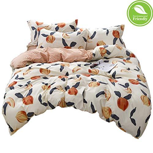 Duvet Cover Set Bedding Set 3 Piece, Morbuy Nordic Print Duvet Set for Double King Single Bed with 1 x Quilt Case 2 Pillowcases (King-220x230cm,peach)