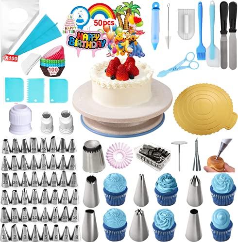 VLVEE Decorazione Torta Set, di Utensili da Decorazione per Torte della Pasticceria, Decorazioni Torte Pasticceria per Cupcake Dolci Torta (E-325pcs)