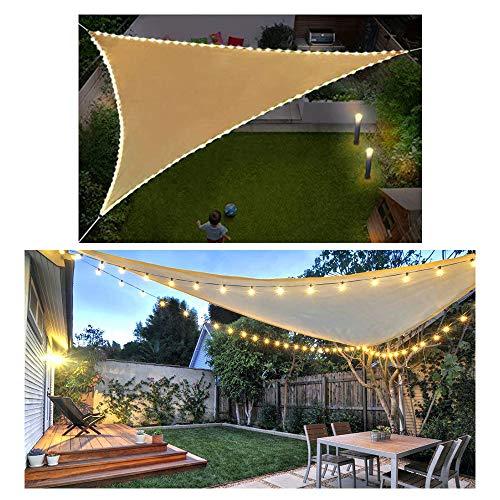HOXMOMA Dreieck Sonnensegel Sonnenschutz mit LED-Leuchten, Wetterbeständig Segel Schatten Windschutz mit 95% UV Schutz für Garten Terrasse Camping Balkon,Beige,5x5x5m