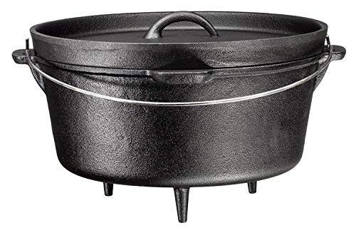 Bruntmor, 3 Legged Pre-Seasoned Cast Iron Camping Flanged lid Deep