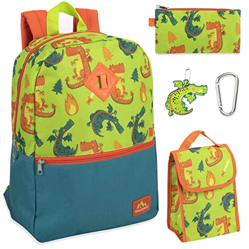 Trailmaker 5 in 1 Full Size Character School Backpack and Lunch Bag Set For Boys (Dragons)