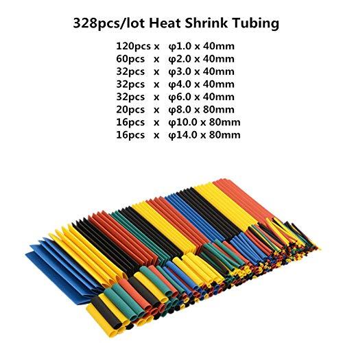 328 stücke Schrumpfschlauch Draht Isolierschlauch Kit Auto Elektrische Schrumpf Kabel Wrap Set Verschiedene Polyolefin-Multi-Farbe